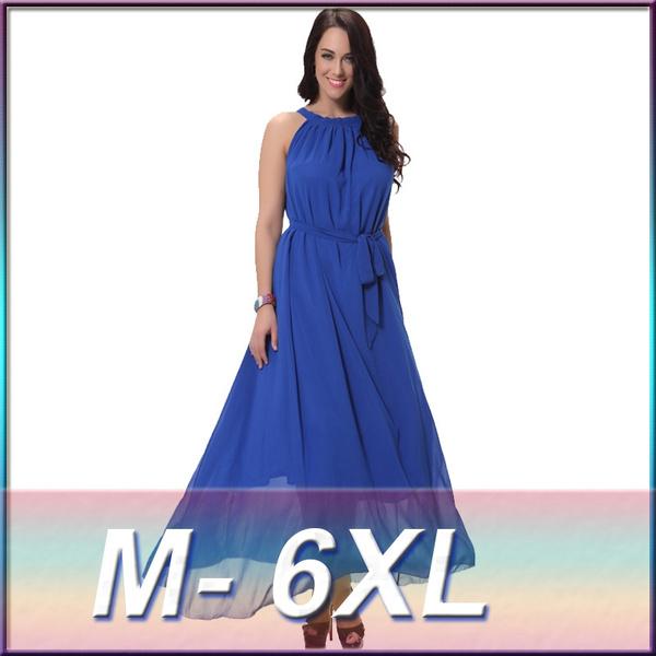Plus Size M-6XL Bohemia Beach Dress Casual Chiffon Dress Women Holiday  Party Dress