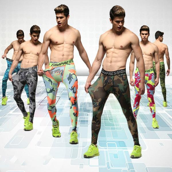 95fc54a143 Men run sports pants tights male fitness pants high elastic ...