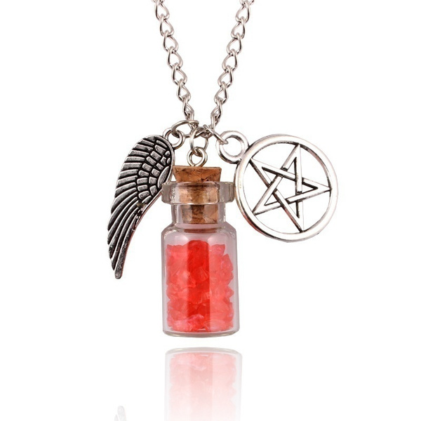 SUPERNATURAL PROTECTION NECKLACE Angel Wing Pentagram Salt Bottle Pendant 20