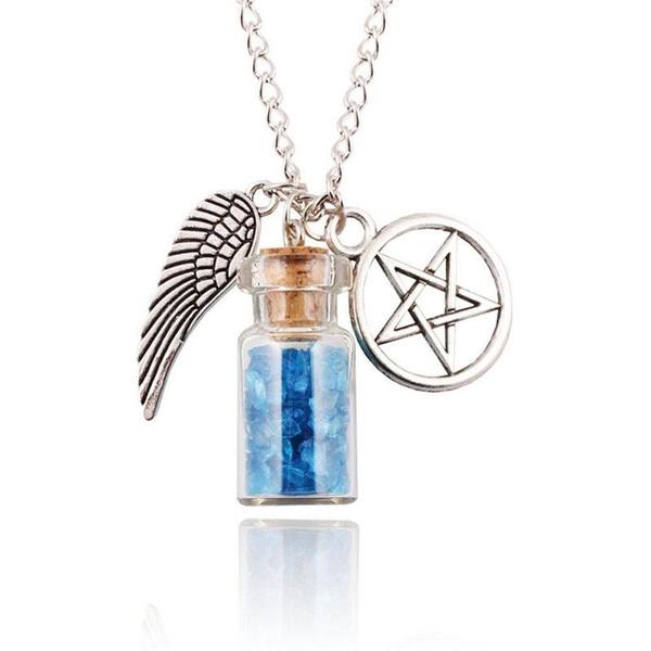 SUPERNATURAL PROTECTION NECKLACE Angel Wing Pentagram Salt Bottle Pendant 20