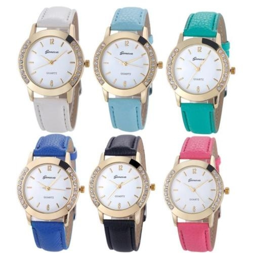 GENEVA Women Watches Diamond Analog Leather Quartz Wrist Watch Gifts