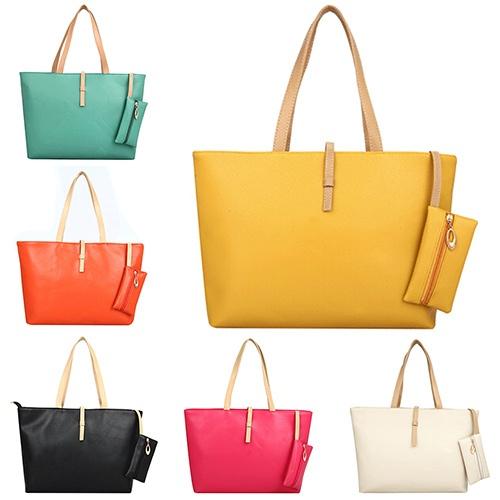 Picture of Women's Big Shoulder Bag Faux Leather Handbag Buckle Clutch Messenger Purse