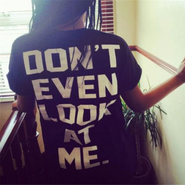 Picture of Don't Even Look At Me Letter Printed Short Sleeve T Shirt