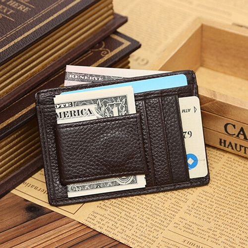 Picture of Men's Fashion Faux Leather Id Card Credit Card Holder Money Clip Business Pocket Cowhide Wallet