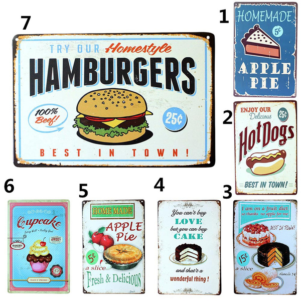 Picture of Vintage Metal Sign Tin Plaque Tavern Cake Hambuger Food Wall Decor Retro Poster