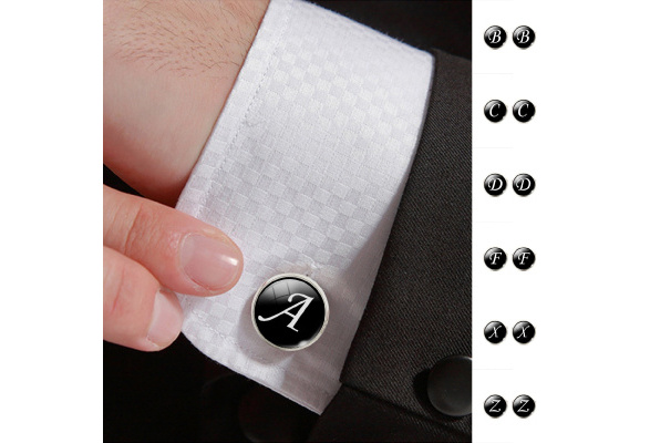 26 Letters Print Men's Suits Shirt Cuff Links Silver Plated Glass Cabochon French Cuff Cufflinks Letters Cufflinks Wedding Cuff Accessories