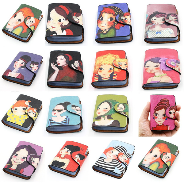Picture of Random Pattern Cartoon 26 Credit Cards Business Id Holder Pu Leather Pocket Case Gift Size Random Pattern