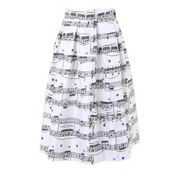 60db0fa14a Women Piano Music Notes Melody Print Skirt Tulle Pleated High Waist ...