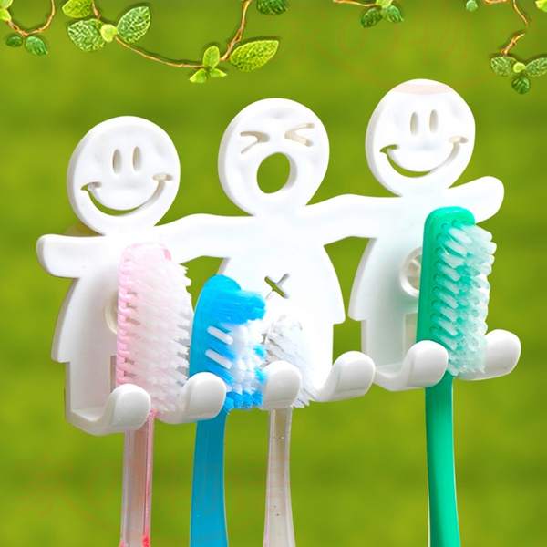 Picture of 1pcs Smile Face Bathroom Kitchen Toothbrush Towel Holder Wall Sucker Hook Nh7 Color White