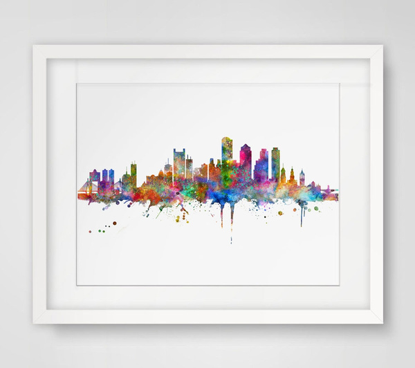 Superior Wish | Boston Wall Hanging Boston Skyline Wall Decor Without Frame Boston  Art Print Watercolor Fine Art Paper Boston Skyline City Poster Watercolor  Painting