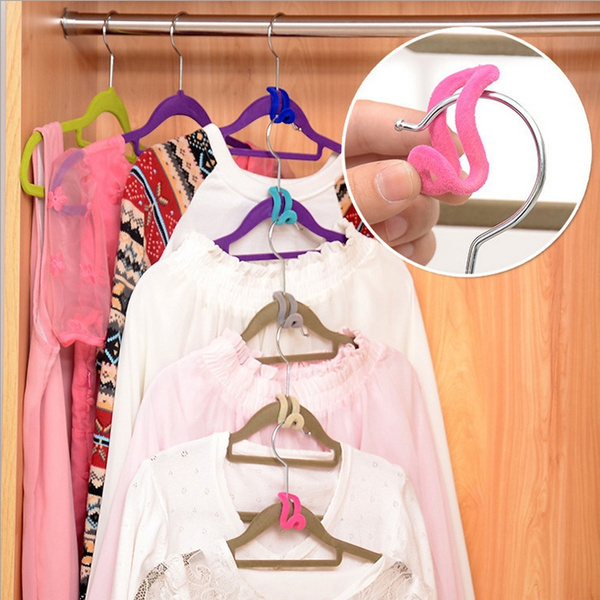 Picture of 10pcs Creative Mini Flocking Clothes Hanger Easy Hook