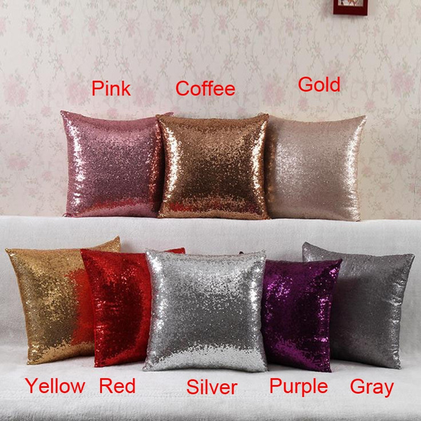 Picture of Glitter Home Decor Pillow Case Cushion Cover Colorcoffeegold Beige Pinkpurple Redsilveryellow