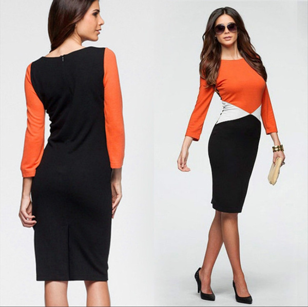 ca2316aa6e6 New Ladides Stylish Color Patchwork Office Pencil Dress Women ...