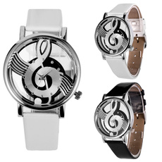 Music Notation Womens Mens Quartz Watches Note Leather Analog Wristwatch