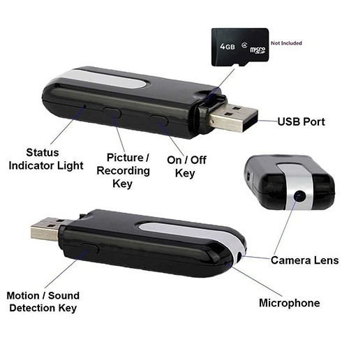 Picture of High Quality Mini Usb Disk Spy Camera Camcorder Hidden Dv Dvr Motion Activated Detection Color Black