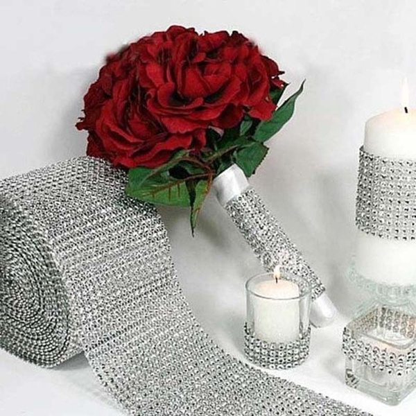 Picture of Fashion Mesh Wrap Roll Sparkle Rhinestone Crystal Ribbon Wedding Decoration Org