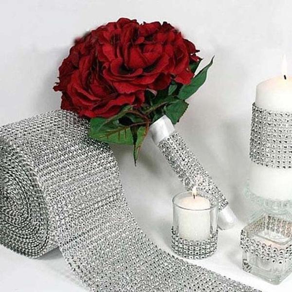 Picture of Fashion Mesh Wrap Roll Sparkle Rhinestone Crystal Ribbon Wedding Decoration Org