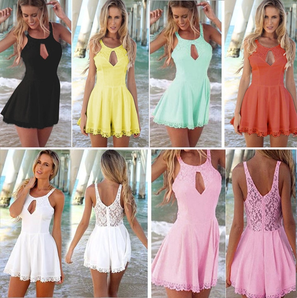 Picture of Chiffon Playsuits Lace Stitching Hollow-out Backless Vest Jumpsuits Casual Rompers