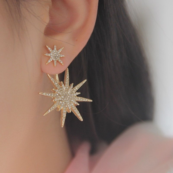 Fashion Hexagram Snowflake Crystal Fission Stud Earrings Charms Jewelry