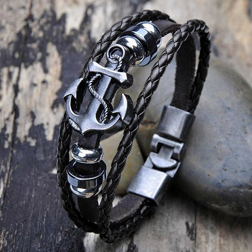 Men Vintage Punk Style Black Metal Anchor Steel Studded Surfer Faux Leather Bangle Cuff Bracelet Gift Party (Size: One Size)