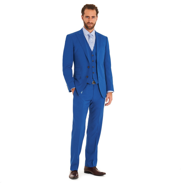 Wish | Two-Button Royal Blue Groom Wedding Suits Cheap Men Tuxedos ...