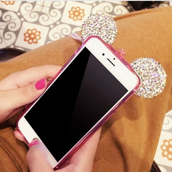 Best Quality Fashion 3D Mouse Case For iPhone 5 5S SE 6 6S 7 Plus Samsung Galaxy S6 S7 Rhinestone ears Soft Transparent TPU