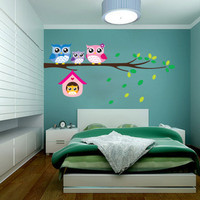 Removable Sweet Owls Family Branch Wall Sticker Decals Vinyl Mural Bedroom Nursery Decor