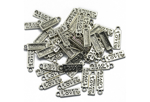 50pcs MADE WITH LOVE Heart Rectangle Heart Charms Pendant