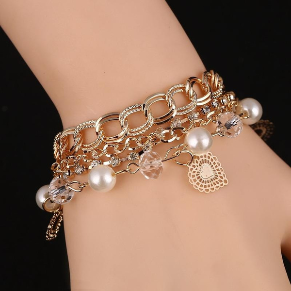 Picture of 18k Gold Filled Chain Bracelet For Women Pearl Crystal Heart Charm Braclets Bangles Transparent Beading Luxury Jewelry Size 24 Cm Color Gold