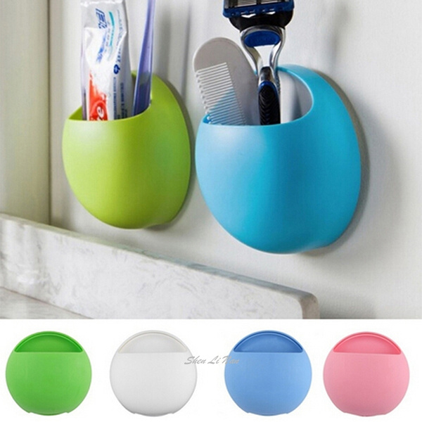 Picture of New Fashion Toothbrush Holder Bathroom Kitchen Family Toothbrush Suction Cups Holder Wall Stand Hook Cups Organizer