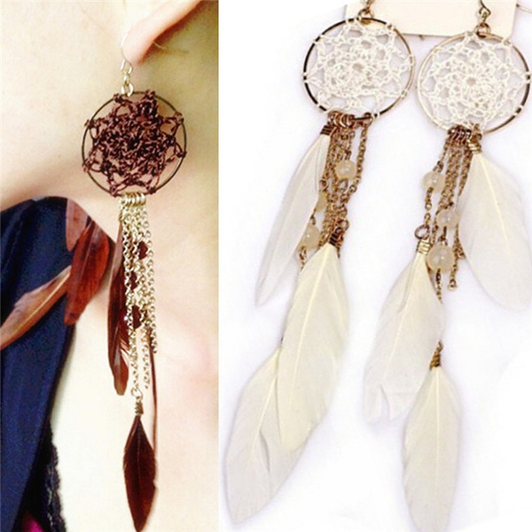 Charm Bohemia Ethnic Feather Beads Long Design Dream Catcher Earrings for Women Specialofferly