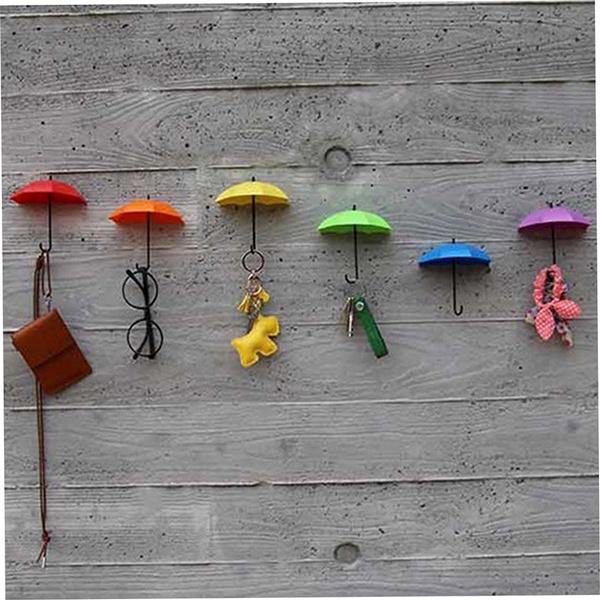 Picture of 3pcs Colorful Umbrella Wall Hook Key Hair Pin Holder Organizer Decorative Cv3