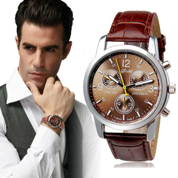 Men Fashion Wristwatch Luxury Crocodile Leather Band Casual Watch Analog Quarzt Wirst Watches Trendy gifts