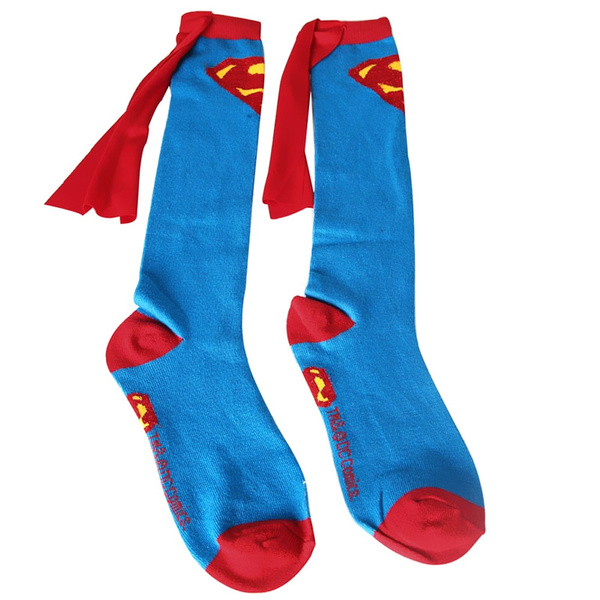 Unisex Super Hero Superman Batman Knee High With Cape Soccer Cosplay Socks New