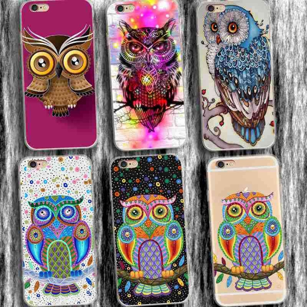 Picture of Hot Cartoon Owl Hand Painted Moblie Phone Case For Iphone 7/7 Plus 5 5c 6/6s 6 Plus/samsung Galaxy S5 S6 S6 Edge S7 S7 Edges8 S8 Plus/note 5 4/a7 A8/htc M9 M8 Etc
