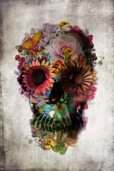 Picture of Dod Flower Skull The Dead Sugar Lace Fabric Poster 36 X 24 / 20 X 13