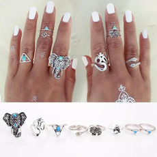 8PCS/Set Antique Silver Plated Vintage Bohemian Turkish Midi Ring Set Steampunk Snake Turquoise Ring Knuckle Rings For Women Jewelry