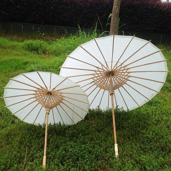 Chinese Japanese Style Adult Blue Oiled Paper Parasol Umbrella Wedding Umbrella Size 20cm White