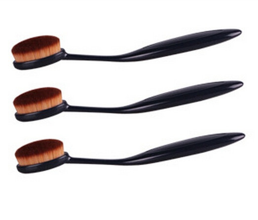 Pro Oval Women's Fashion Makeup Cosmetic Brushes Face Powder Foundation Eye Shadow Blusher Soft Toothbrush Shape Curve Brushes Foundation Cosmetic Makeup Tools (Color: Black)