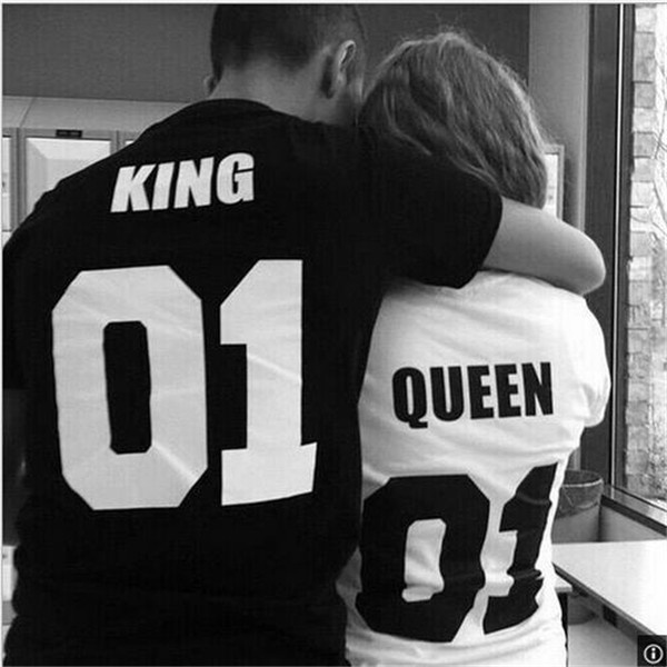 New Fashion T-shirt Men Women's Fashion Clothes Street Punk Hip-hop King Queen Design Fashion 100% Cotton Tops Short Sleeve Cool Casual T-Shirt Lover Gifts(Black for King, White for Queen)