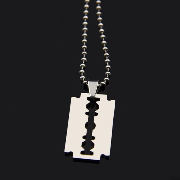 Razor Blade Silver 316L Stainless Steel Titanium Pendant Necklace Keyring