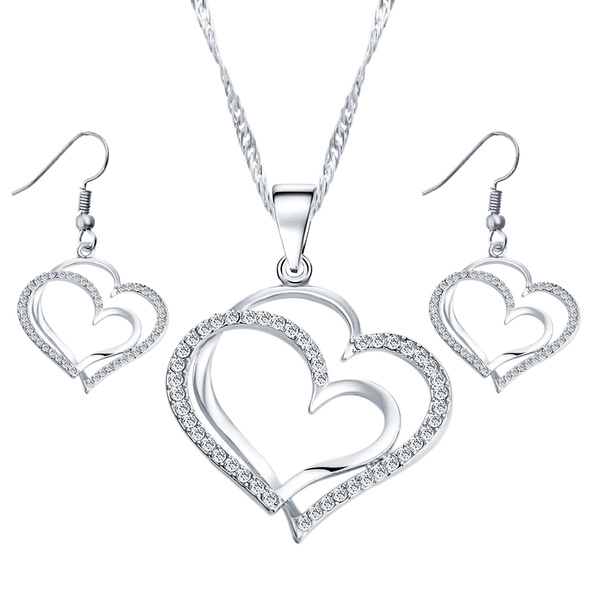 Luxury Romantic Classics Crystal Rhinestone Heart Necklace Earring Set Silver Gold Plated Temperament  Plated Fashion Cute Love Pretty Prom Wedding Earrings Necklaces Jewelry Women Accessories