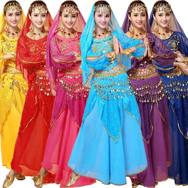 0416c7724f 4pcs Sets Sexy India Egyptian Queen Belly Dance Costumes Bollywood Costumes  Indian Dress Bellydance Wear Dress Womens Belly Dancing Costume | Wish
