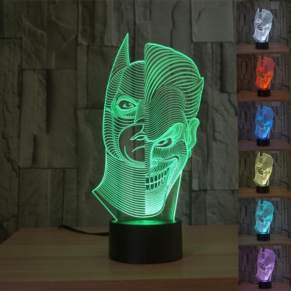 Picture of 3d Batman Joker Bedroom Night Touch 7 Color Change Led Desk Table Light Lamp Size 1 Color Multicolor