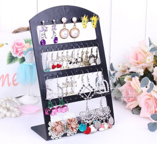 Picture of Black Plastic Display Rack Stand Holder Organizer 24 Pairs Earring Jewelry Show