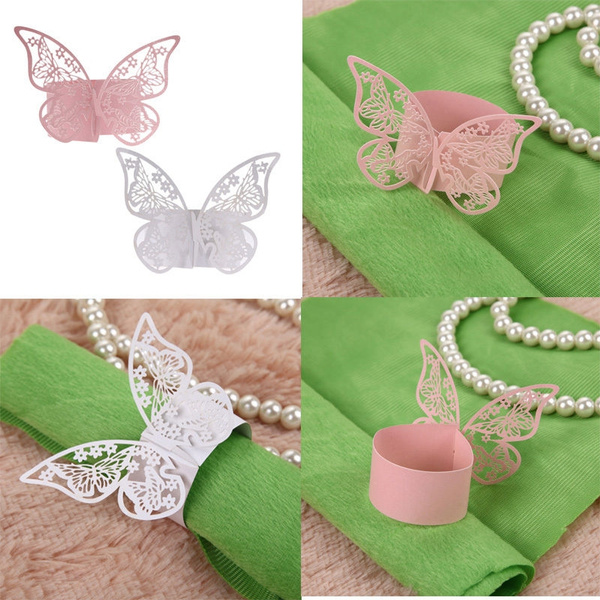 Picture of 50pcs Napkin Butterfly Ring Paper Holder Table Party Bridal Wedding Favors Hot