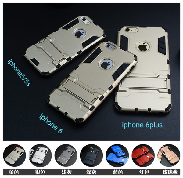 Picture of Hard Silicone+pc Hybrid Iron Man Combo Armor Shield 3d Case For Iphone 5 5s 6 6plus 6s Plus 7 7plus/samsung Galaxy S5 S6 S6edge Plus/s7 S7edge/ S8 Plus Note4 Note5 A7 A8 J1 J2 J3 J5 J7 A3 A5 2017 Huawei P8lite P9 Lite Stand Back Cover Housing