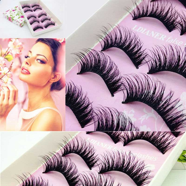 Picture of 5pairs Natural Long Black Eye Lashes Makeup Thick Fake False Party Eyelashes