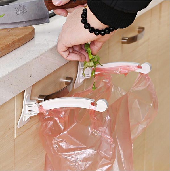 Hanging Kitchen Cupboard Cabinet Door Tailgate Stand Storage Garbage Bags Hooks Rack Home Kitchen Dining