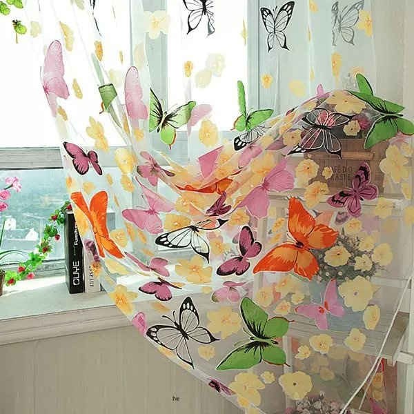Wish | Floral Butterfly Sheer Curtains Sheers Voile Tulle Window ...